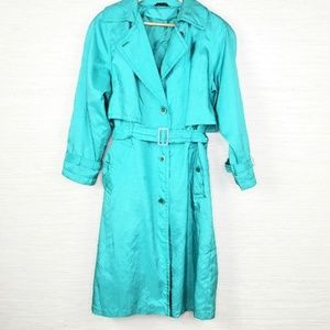 Womens Vintage Utex 50 Nylon Green Trench Jacket